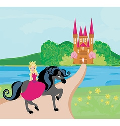 The Beautiful princess and her cute horse vector image vector image