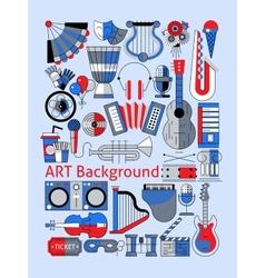 Art flat line set vector image