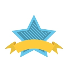blue star shield with stripes and yellow ribbon vector image vector image