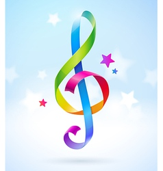 Colored ribbons in the shape of treble clef vector image vector image