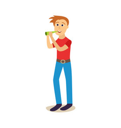flat young man drinking beer from bottle vector image