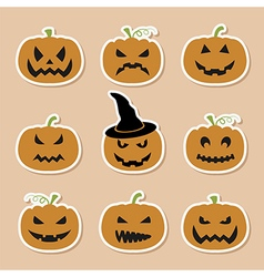 Halloween pumpkins set Graphic template Flat icons vector image