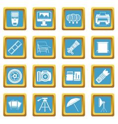 Photo studio icons azure vector