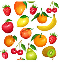 seamless pattern of fruits and berries vector image
