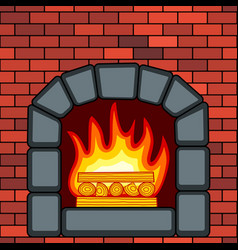 stone fireplace in brick wall vector image vector image
