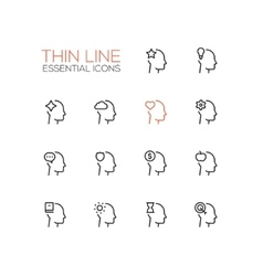 Thoughts in heads - thin single line icons set vector