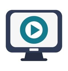 computer monitor play icon vector image