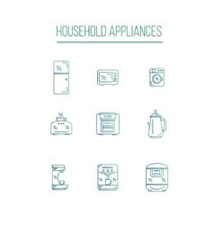 Kitchen Appliances icons white background vector image