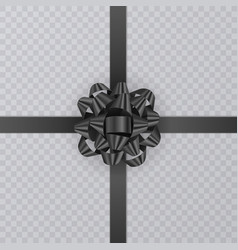 realistic gift ribbon black bow of on transparent vector image