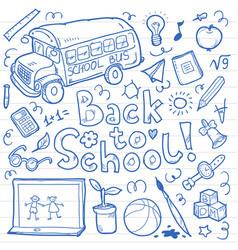 set of doodle back to school elements vector image
