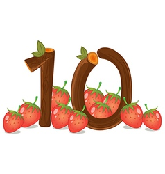 Ten strawberries vector image vector image