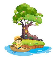 A boy boating vector image vector image