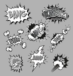Boom set comic book explosion vector
