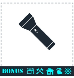 Flashlight icon flat vector