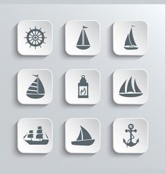 Sailboat Web Icons Set vector image