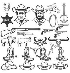 set of cowboy design elements cowboy boots hats vector image vector image