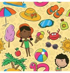 Summer beach pattern vector image vector image