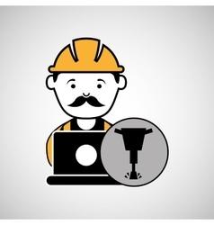 under construction laptop worker jackhammer vector image vector image