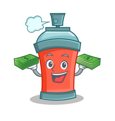 Aerosol spray can character cartoon with money vector