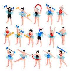 Aqua aerobics isometric set vector
