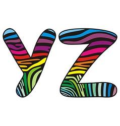 Background skin zebra shaped letter Y Z vector