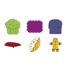 bakery icon set color outline style vector image