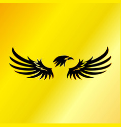 Black eagle with gold background vector