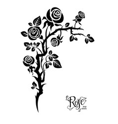 Black flower tattoo vector