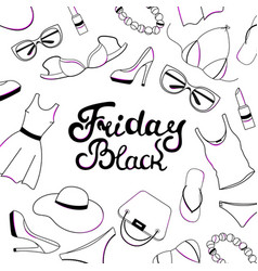 Black friday sale hand lettering women clothing vector
