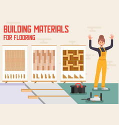 Building materials for flooring ad banner vector