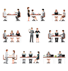 Business people meeting isolated on white vector