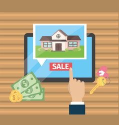 businessman hand with tablet and house sale vector image