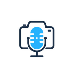 camera podcast logo icon design vector image