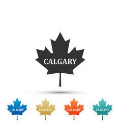 Canadian maple leaf with city name calgary icon vector