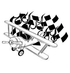 cartoon fighter plane twin-engine vector image