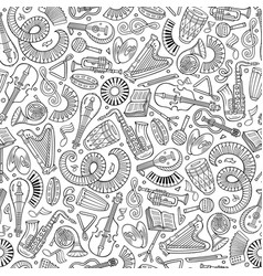 Cartoon hand-drawn classic music seamless pattern vector