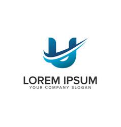 cative modern letter u logo design concept vector image