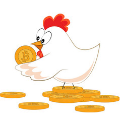 chicken with bitcoin vector image