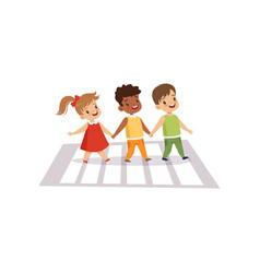 Children using cross walk to cross street traffic vector