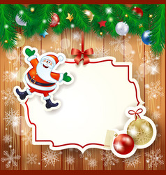 christmas background with label santa and baubles vector image