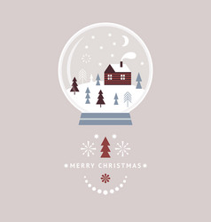 christmas card snow globe with cute little winter vector image