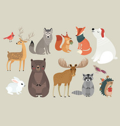 christmas set hand drawn style - forest animals vector image