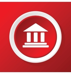 Classical building icon on red vector