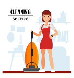 Cleaning service staff character with vacuum vector