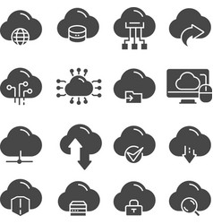 Cloud data technology thin web icons set vector