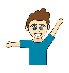 colorful caricature half body boy with open arms vector image vector image