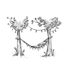 Cosy hammock in a garden sketch vector