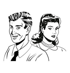 Couple expression together black and white vector