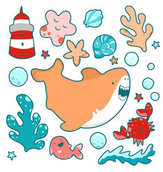 cute shark swims amicably among sea plants and vector image