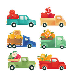 delivery vegetables fruits isolated icon vector image